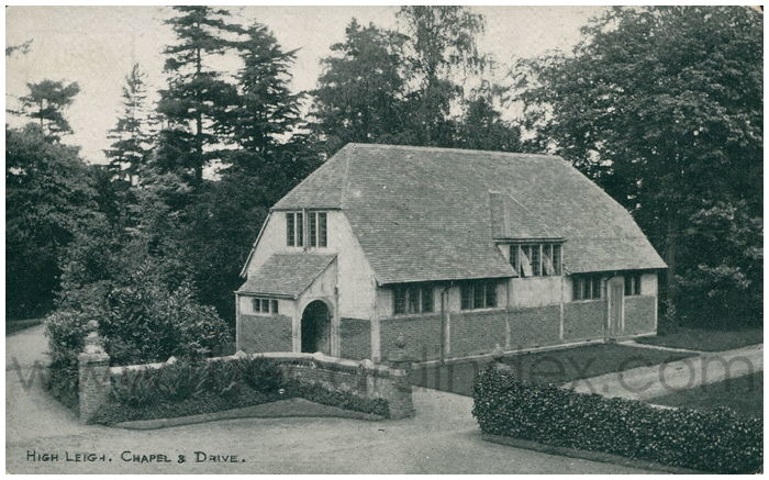 Postcard front: High Leigh, Chapel & Drive