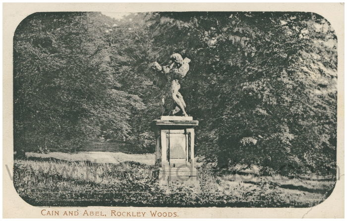Postcard front: Cain and Abel, Rockley Woods.