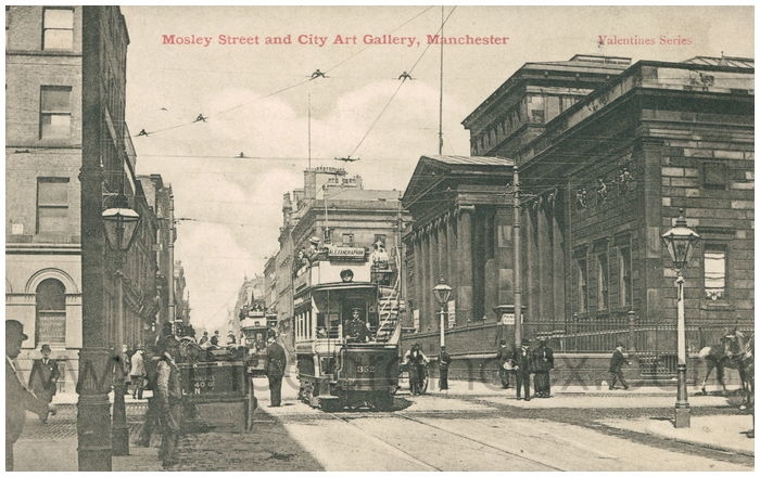 Postcard front: Mosley Street and City Art Gallery, Manchester