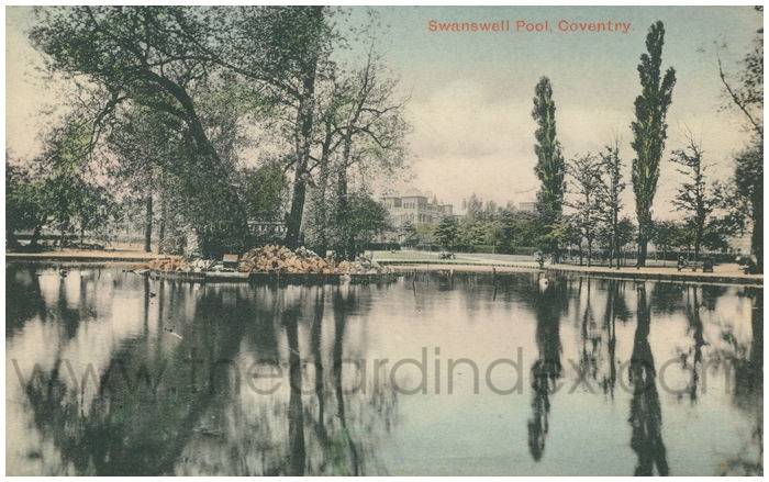 Postcard front: Swanswell Pool, Coventry.