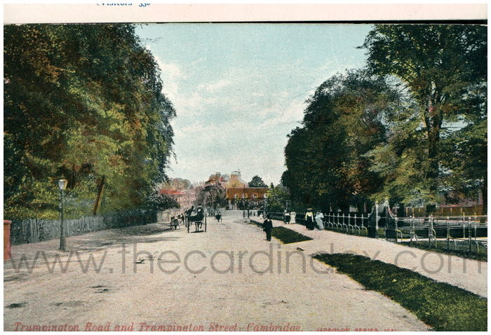 Postcard front: Trumpington Road and Trumpington Street, Cambridge