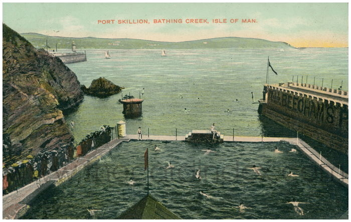 Postcard front: Port Skillion, Bathing Creek, Isle of Man.