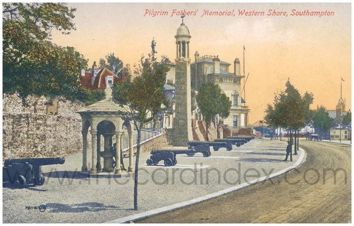 Postcard front: Pilgrim Fathers' Memorial, Western Shore, Southampton