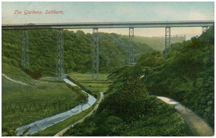 Postcard front: The Gardens, Saltburn.