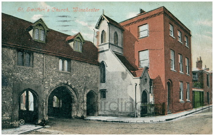 Postcard front: St. Swithin's Church, Winchester
