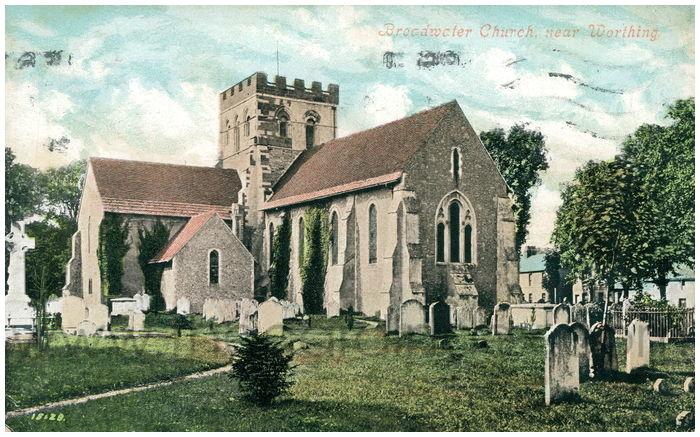 Postcard front: Broadwater Church, near Worthing