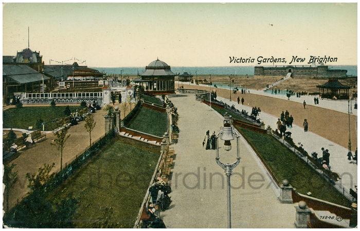 Postcard front: Victoria Gardens, New Brighton