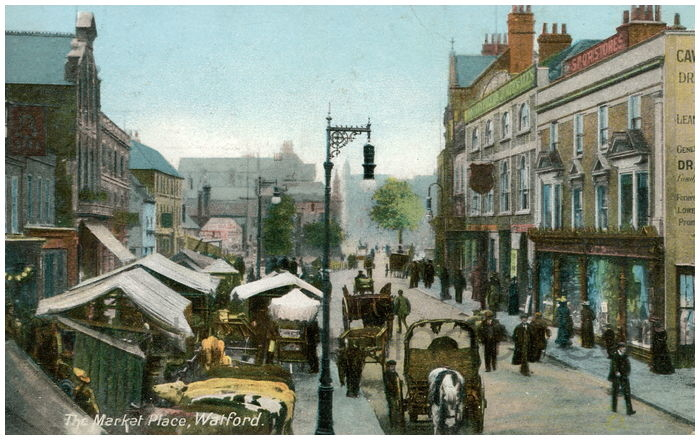 Postcard front: The Market Place, Watford.