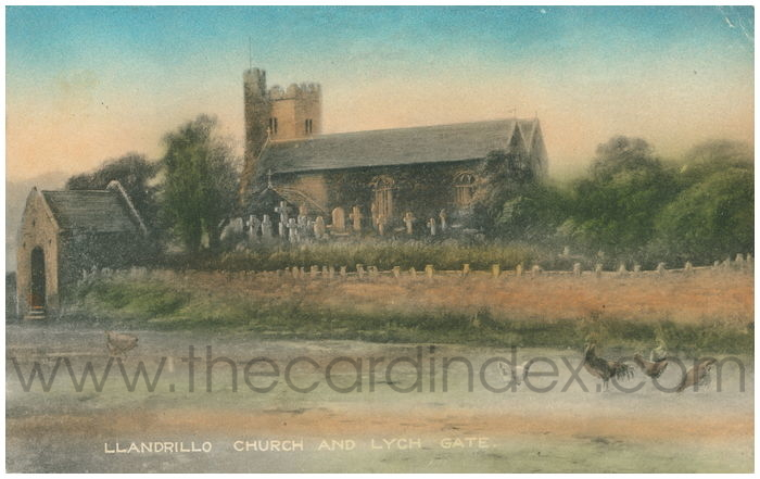 Postcard front: Llandrillo Church and Lych Gate.