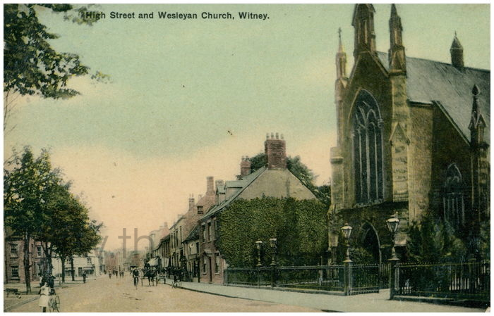 Postcard front: High Street and Wesleyan Church, Witney.