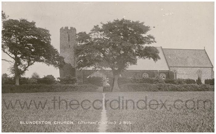 Postcard front: Blundeston Church (Durrant's Series.) J895