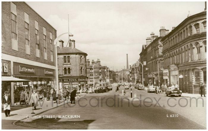 Postcard front: Church Street, Blackburn