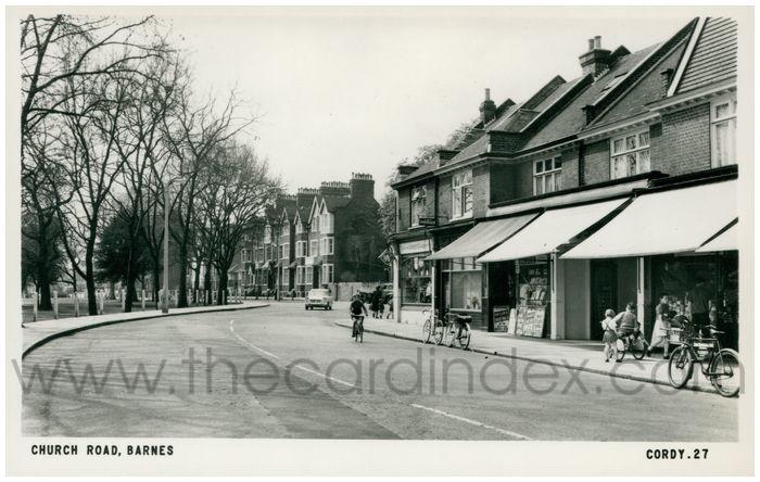 Postcard front: Church Road, Barnes