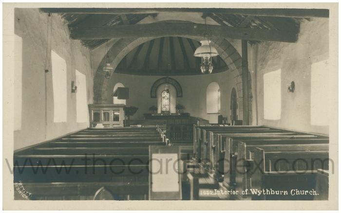 Postcard front: Interior of Wythburn Church