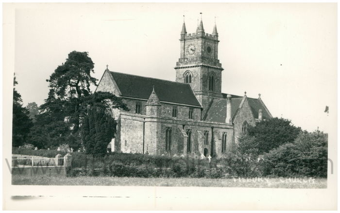 Postcard front: Tisbury Church