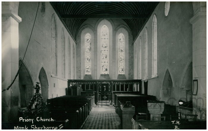 Postcard front: Priory Church. Monk Sherborne