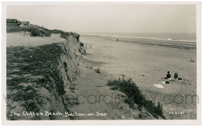 Postcard front: The Cliffs and Beach. Bacton-on-Sea