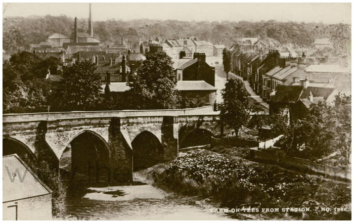 Postcard front: Yarm-on-Tees from The Station