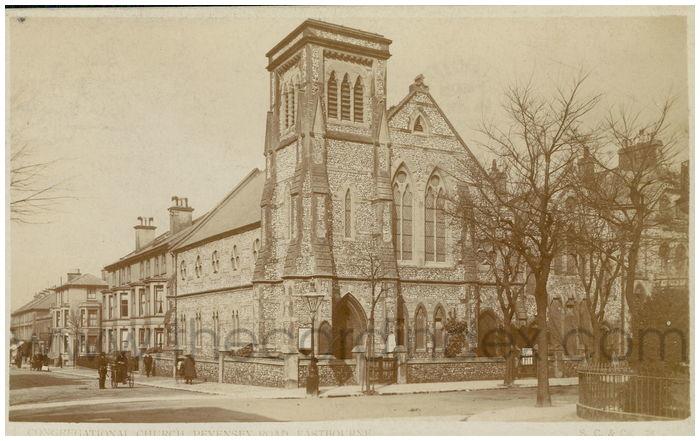 Postcard front: Congregational Church, Peveney Road, Eastbourne.
