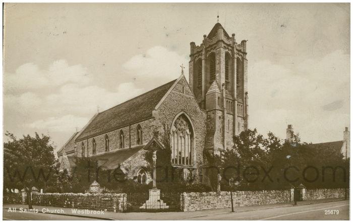 Postcard front: All Saints Church, Westbrook.