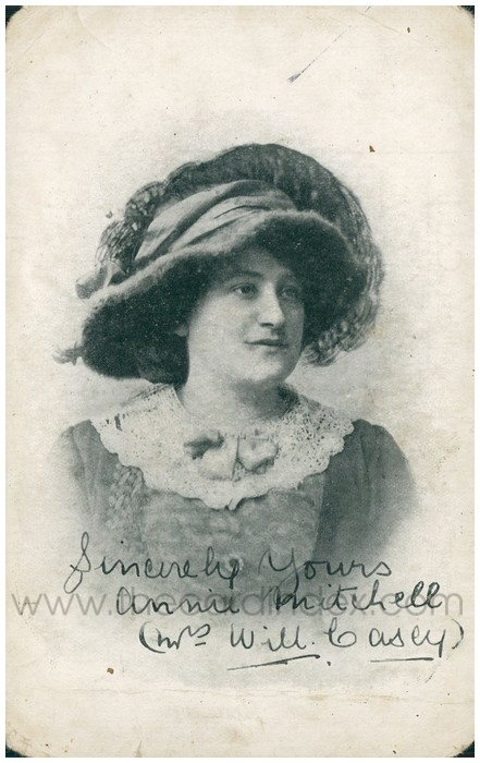Postcard front: Sincerely Yours. Annie Mitchell (Mrs Will Casey)
