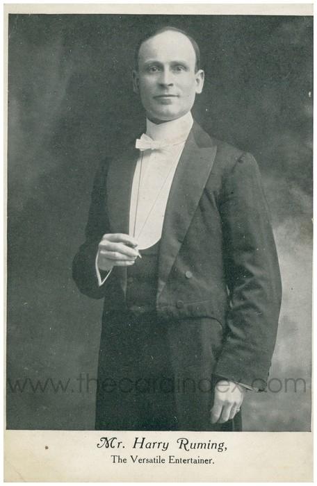 Postcard front: Mr. Henry Ruming, The Versatile Entertainer.