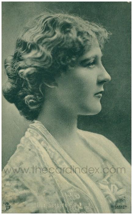 Postcard front: Miss Lettice Fairfax