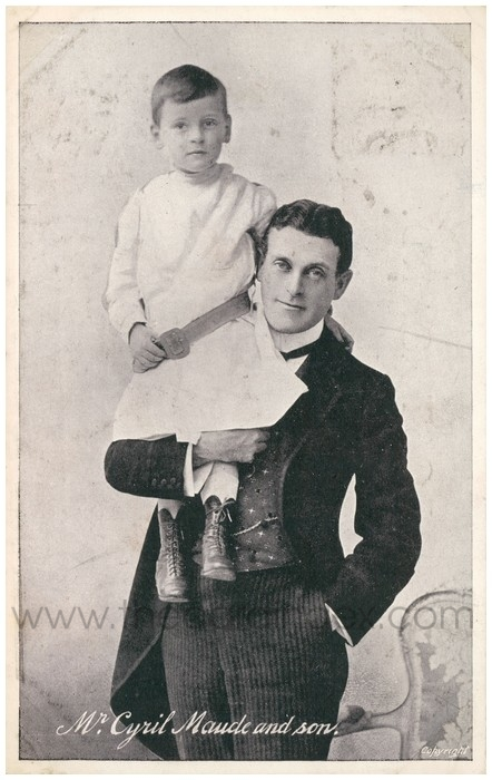 Postcard front: Mr. Cyril Maude and son.