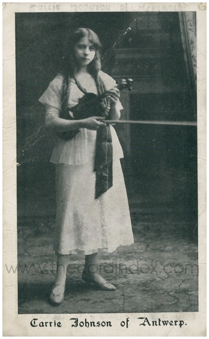 Postcard front: Carrie Johnson of Antwerp