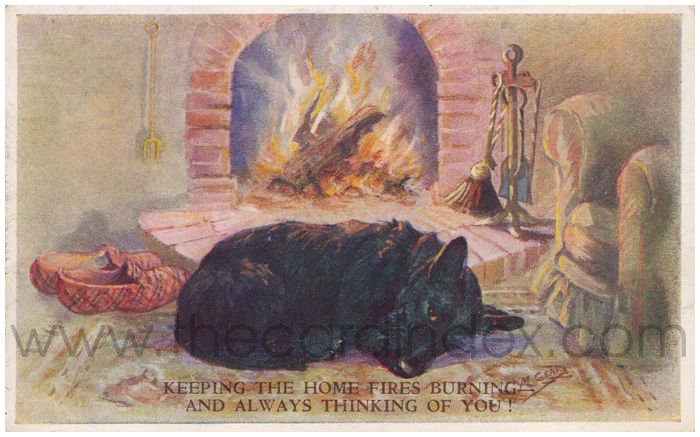 Postcard front: Keeping The Home Fires Burning and Thinking of You!