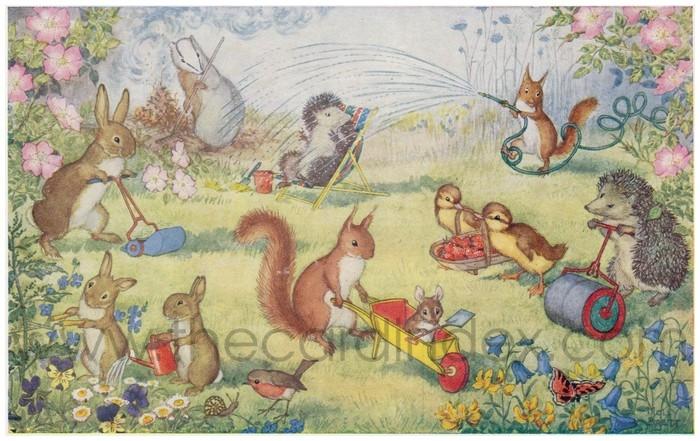Postcard front: Here We Go Gardening