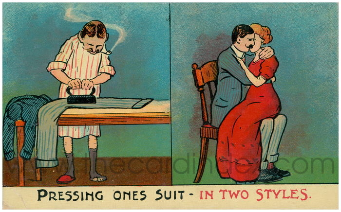 Postcard front: Pressing Ones Suit - In Two Styles