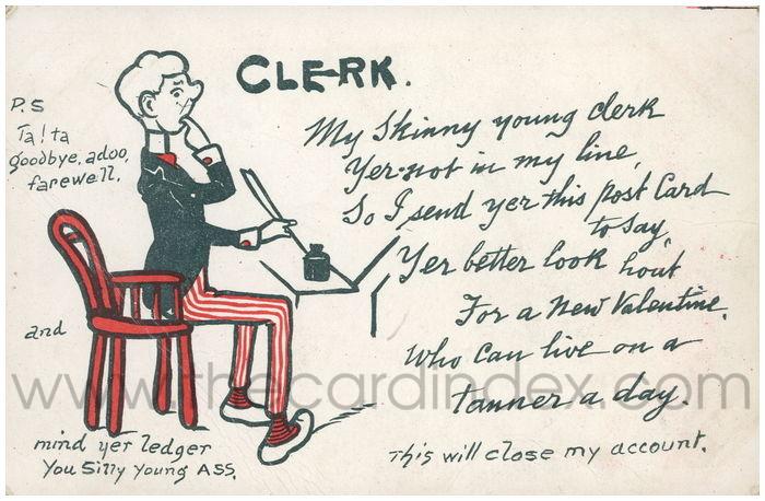 Postcard front: Clerk