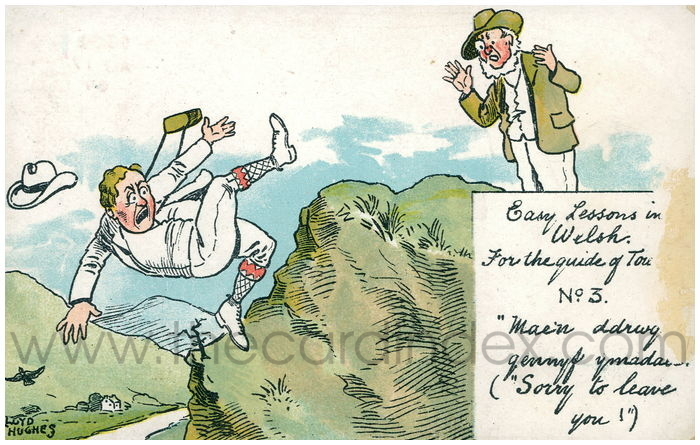 Postcard front: Easy lessons in Welsh.