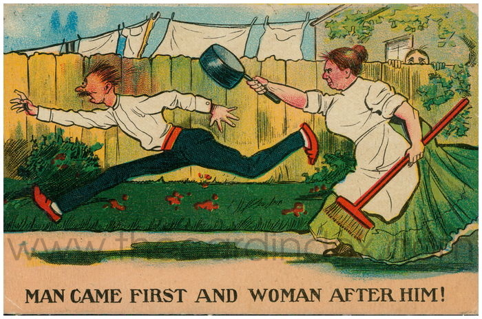 Postcard front: Man Came First and Woman After Him