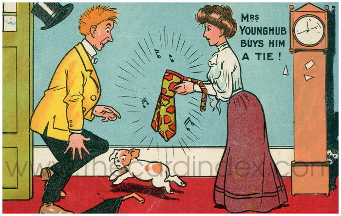 Postcard front: Mrs Younghub buys him a tie!