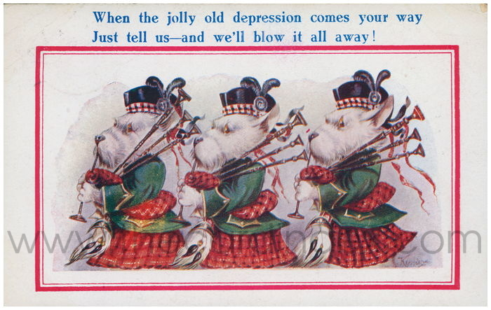 Postcard front: When the jolly old depression comes your way - Just tell us-and we'll blow it all away!