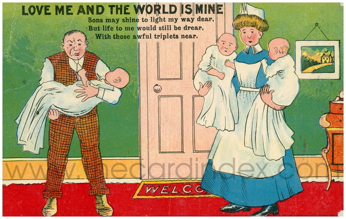 Postcard front: Love me and the world is mine