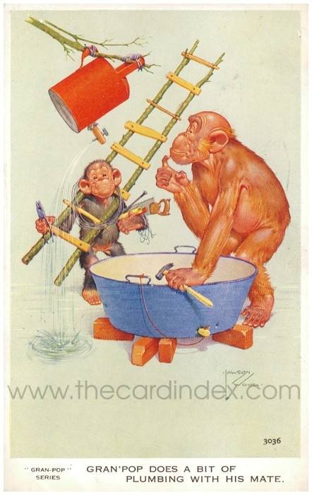 Postcard front: Gran'pop does a bit of plumbing with his mate.