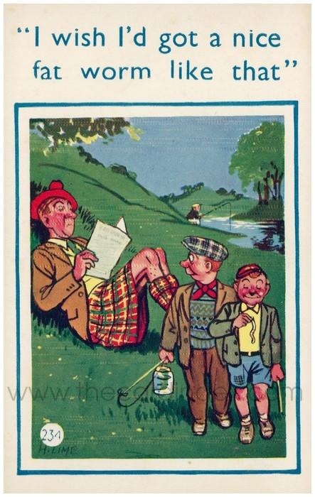 Postcard front: I wish I'd got a nice fat worm like that