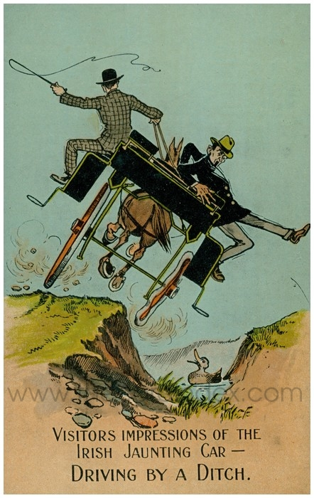 Postcard front: Visitors Impressions of the Irish Jaunting Car - Driving by a Ditch.