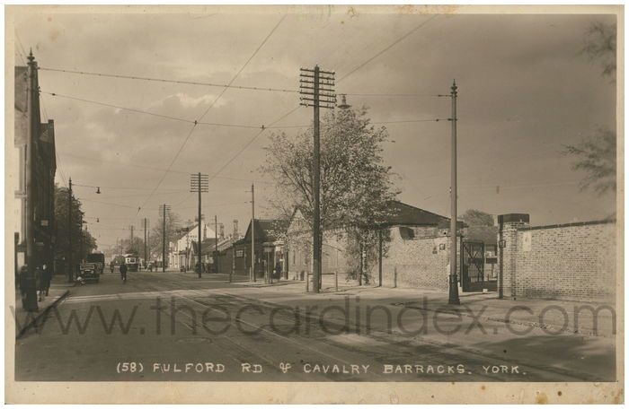 Postcard front: Fulford Rd & Cavalry Barracks, York