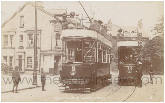Postcard front: Gillygate cars York