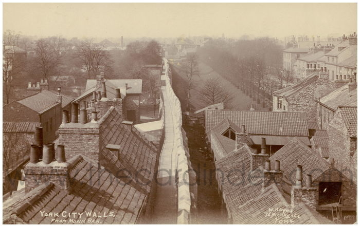 Postcard front: York City Walls. From Monk Bar