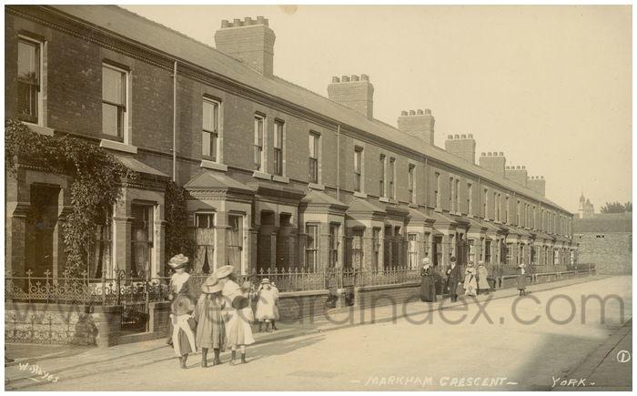 Postcard front: Markham Crescent - York