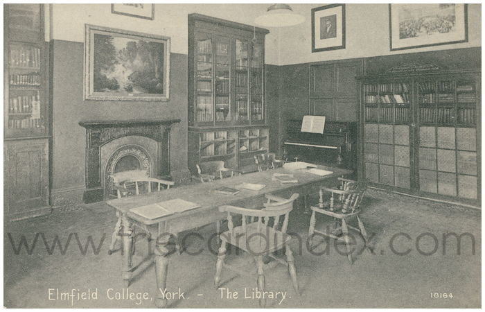 Postcard front: Elmfield College, York - The Library