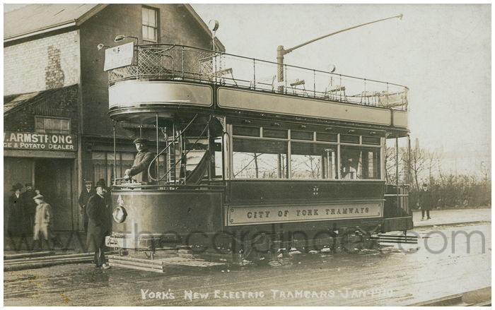 Postcard front: York's New Electric Tramcars Jan 1910