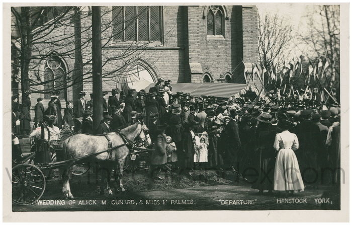 Postcard front: Wedding of Alick M Cunard, & Miss M Palmes