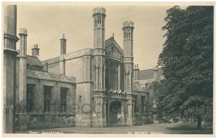 Postcard front: Front Quadrangle St. Peter's School