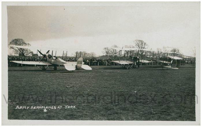 Postcard front: Army Aeroplanes at York